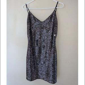 Black mini dress with silver sequins!